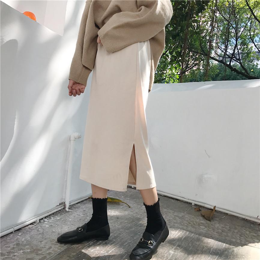 秋鼕新款女生坑條側開叉半身裙百搭高腰H型中長裙