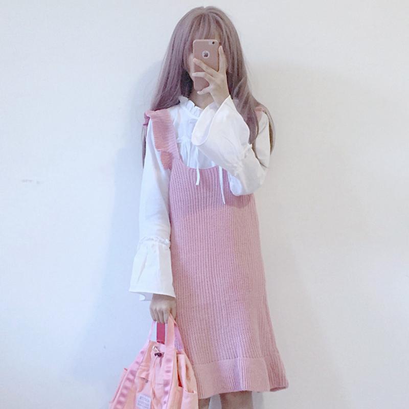 秋装韩版日系软妹荷叶边针织连衣裙洋气衬衫ulzzang套装女两件套