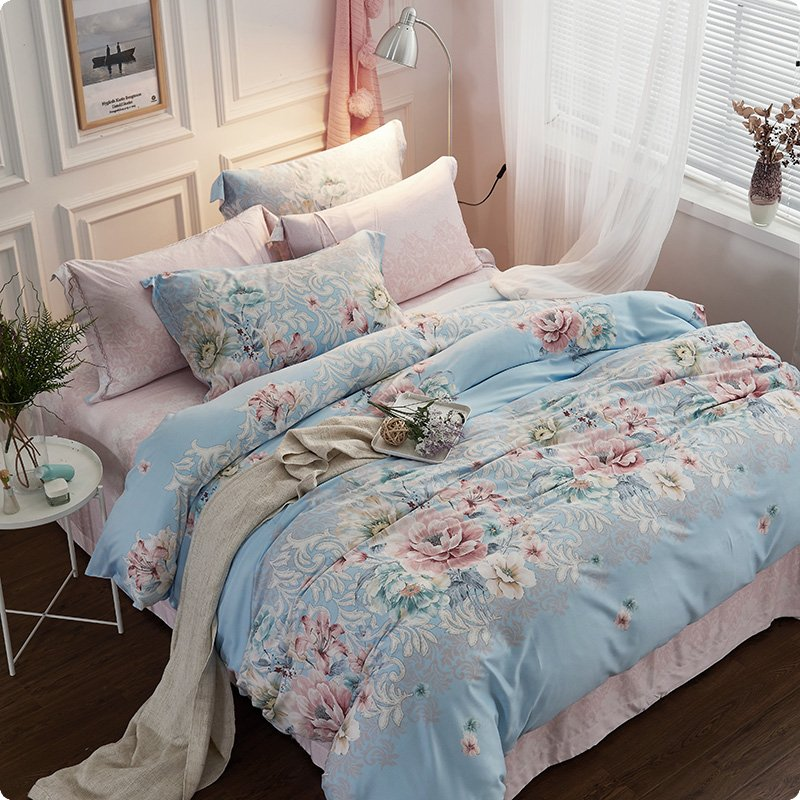 Warm Tencel sijiantao sanding pastoral fresh bed linen bedding skin friendly breathable fashion 1.5m1.8m