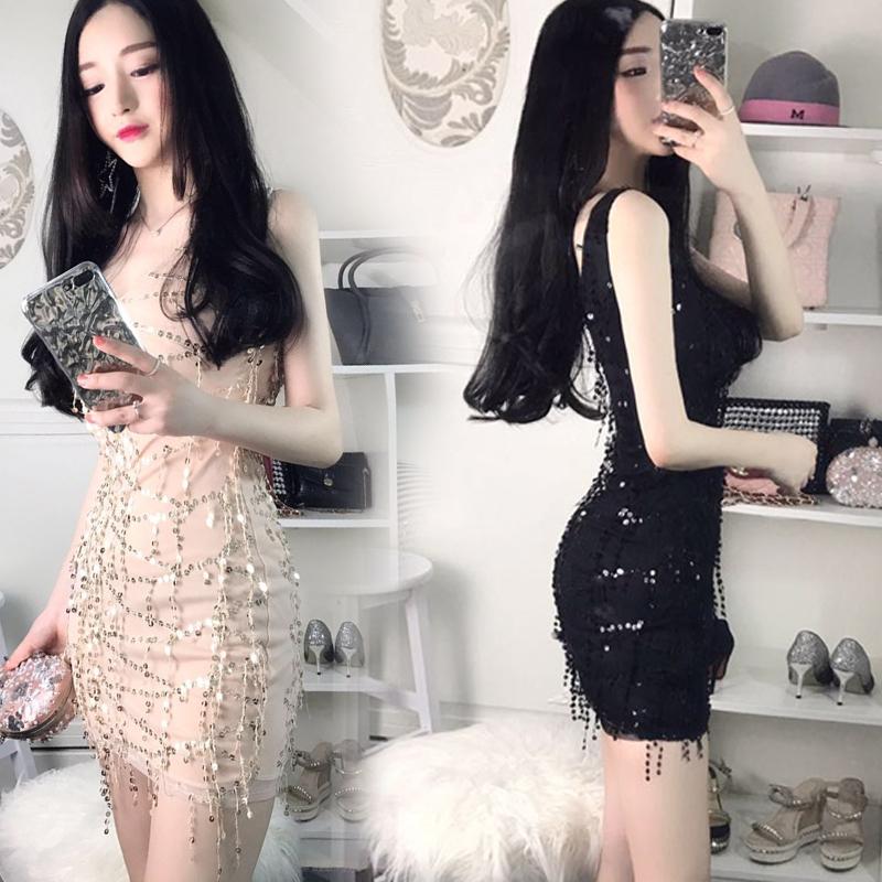 夏新款时尚性感女装流苏亮片性感修身显瘦气质V领包臀背心连衣裙