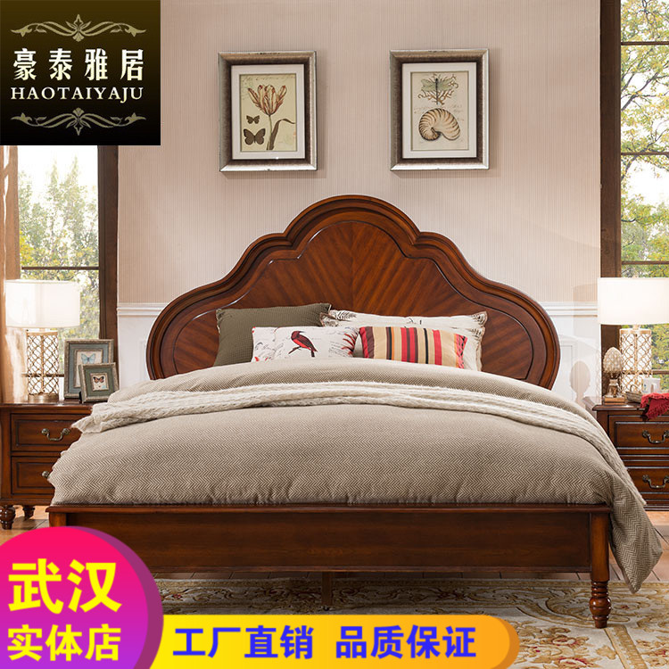 Omnitec garden bed wood bed American style retro country Jane 1.8m meters master bedroom furniture double bed