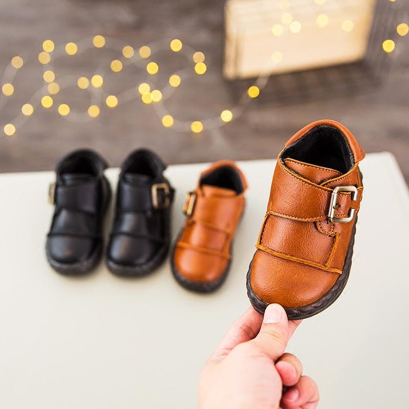 秋冬季儿童皮鞋小童宝宝鞋子男童加绒保暖棉鞋女童软底休闲豆豆鞋