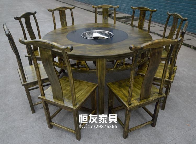 I fornelli di Chongqing Vecchio Tavolo Circolare di Legno profumato scaldavivande mucchio di marmo scaldavivande Insieme tavoli e seDie di 193