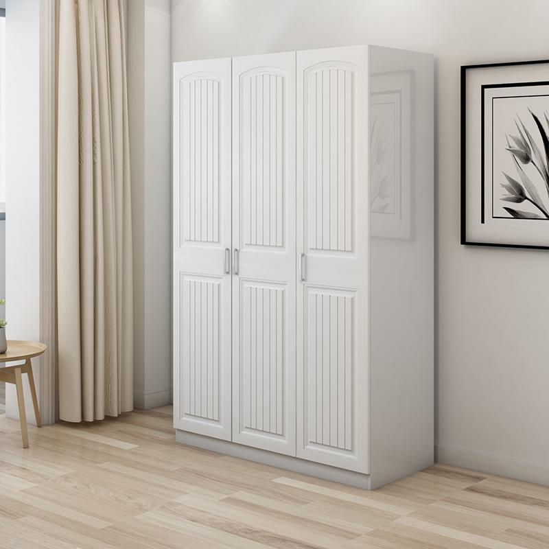 Muebles de dormitorio armario de madera maciza puerta de madera 4 total de madera de caucho empuja tira gran armario moderno envase de correo simple