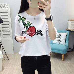 实拍 6651# 新款2018夏季时尚绣花宽松大码T恤韩版短袖圆领女衫