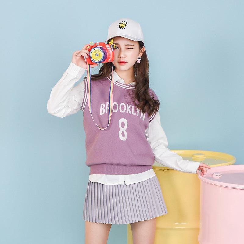 Áo gi lê/Áo dệt kim nữ chui đầu họa tiết chữ cái mẫu mới mùa thu dễ kết hợp phong cách Nhật Bản phong cách học sinh trẻ trung