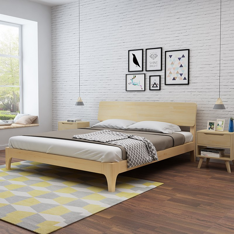Nordic solid wood bed, 1.8 meters double bed master bedroom, modern simple Japanese style 1.5m1.2 meter single bed bedroom furniture