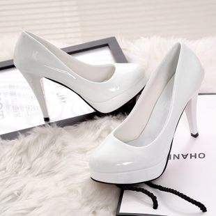 The new round sexy high-heeled shoes with a fine waterproof Taiwan women shoe foot shoes leather shoes cover shallow Korean autumn