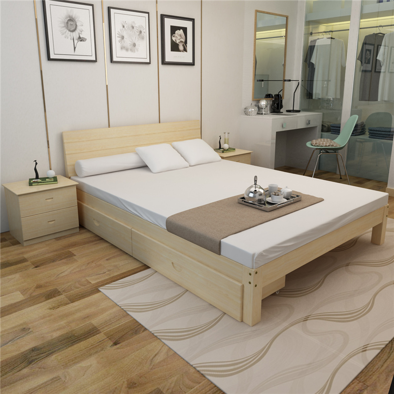 Special price solid wood bed, 1.8 meters double storage, children's bed bedroom, adult simple 1.5 pine classics,