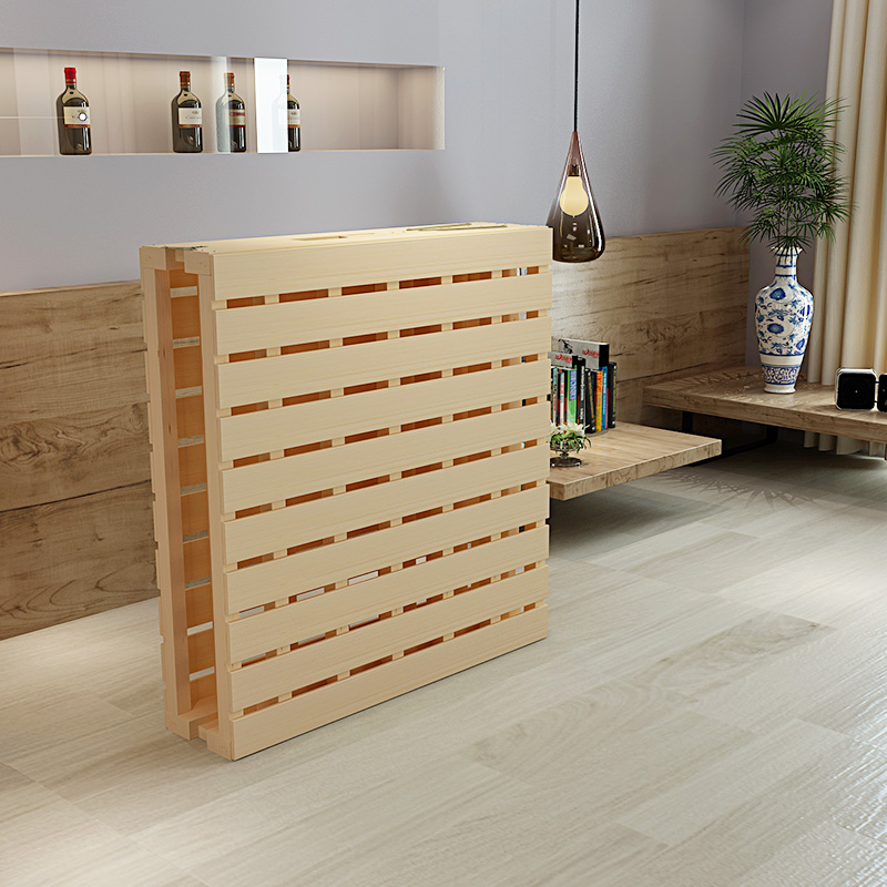 Solid wood folding bed, home adult single bed, economical plate type bed, small apartment, small bed, wooden plank bed, 1.5 meters, 1 meters