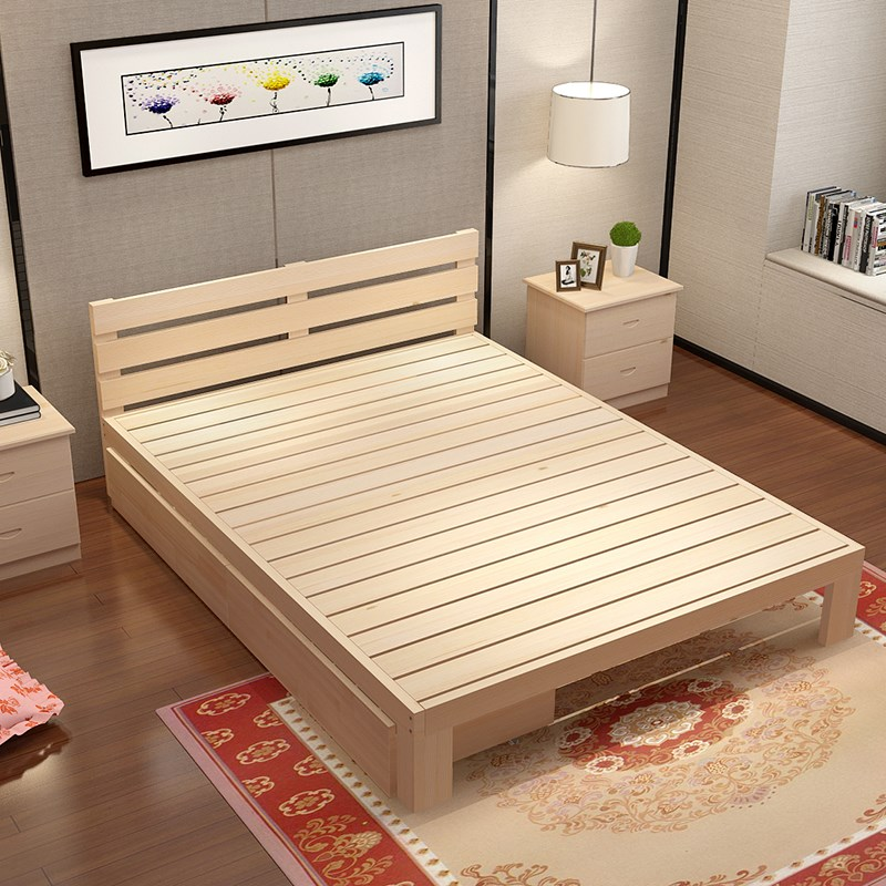 Shipping bed pine wood bed tatami bed single bed double bed adult bed can be customized 1.21.51.8