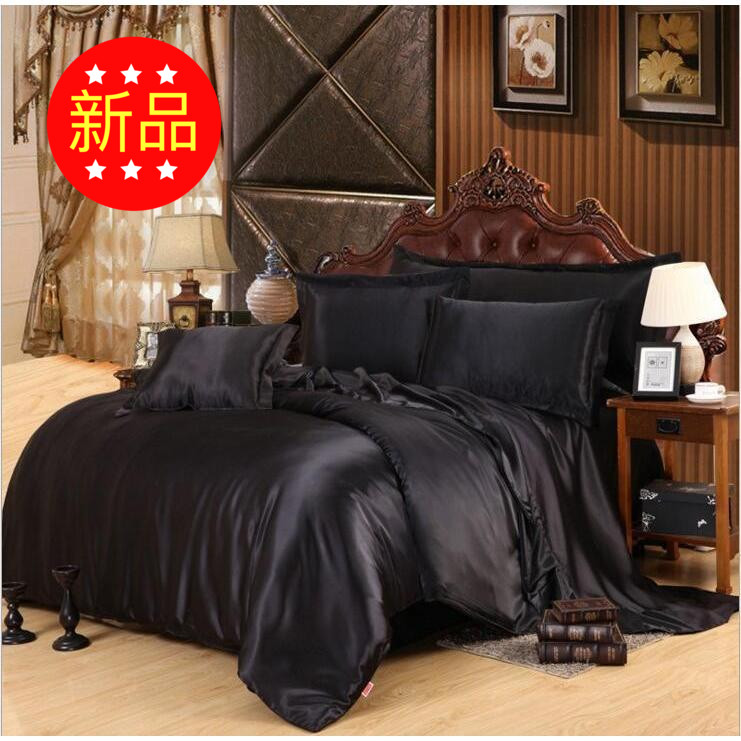 The explosion of the European Lunfeng four pure black silk satin satin four sets of four sets of foreign trade