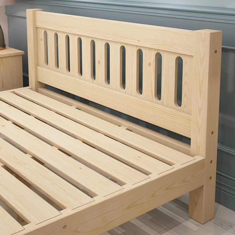 The bed is 1.5 meters wood double economic simple wooden 1.8 simple children pine single bed rental bed