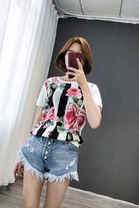 欧货新品设计原创印花条纹冰丝短袖T恤修身条纹牡丹花百搭上衣潮