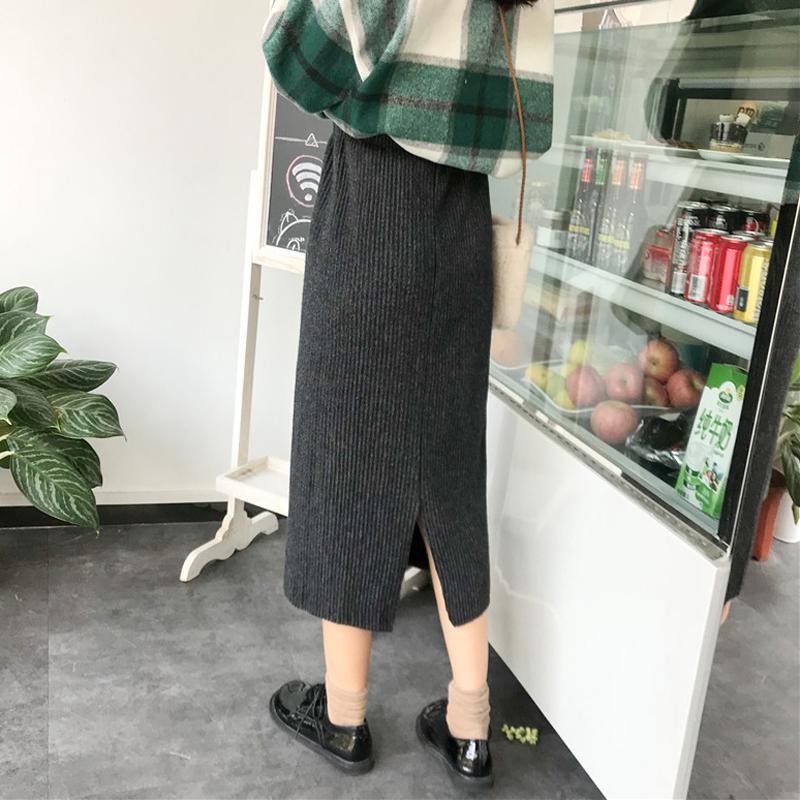 秋冬女装2017新款韩版松紧腰高腰半身裙开叉A字裙中长款学生裙子