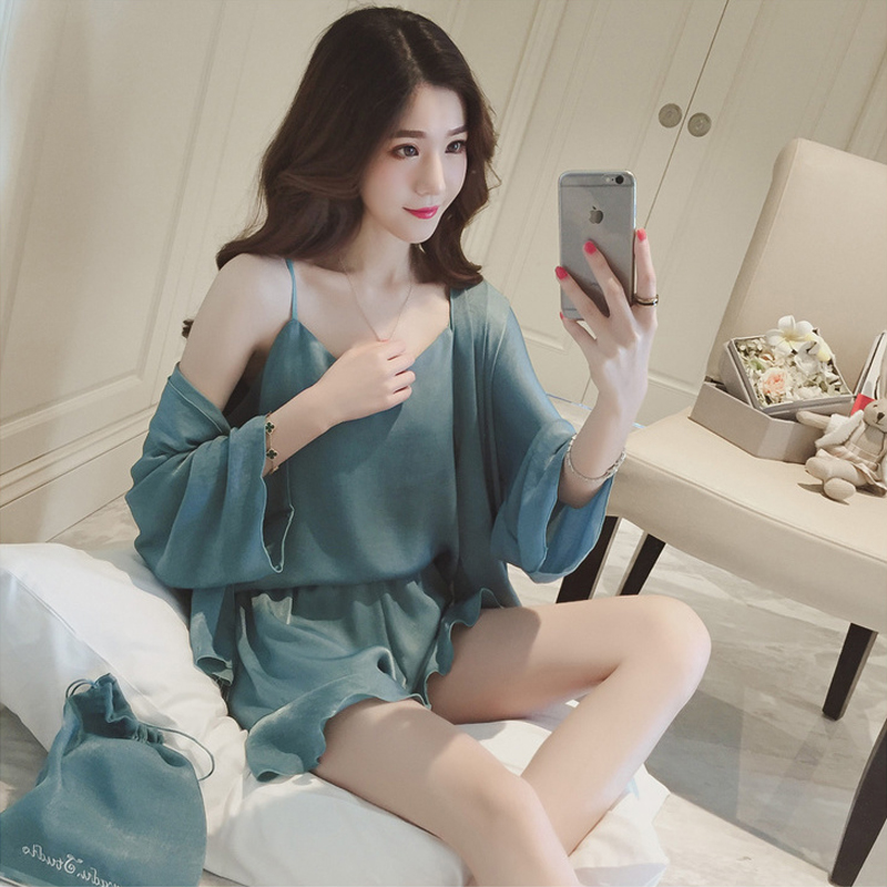 Women's pajamas, mercerized cotton, four sets of coats, suspenders, tops, shorts, pajamas, home clothes, silk like suits