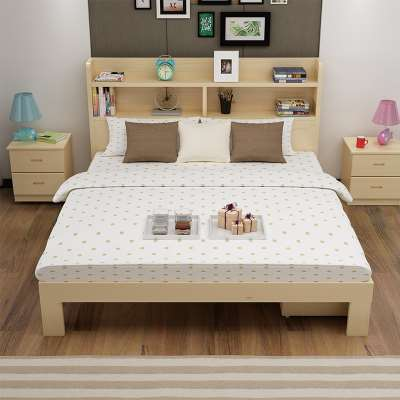 Modern minimalist solid wood beds, bed shelves, beds, boys and girls bed, 1.2 meters, 1.5 meters, a single double bed for children
