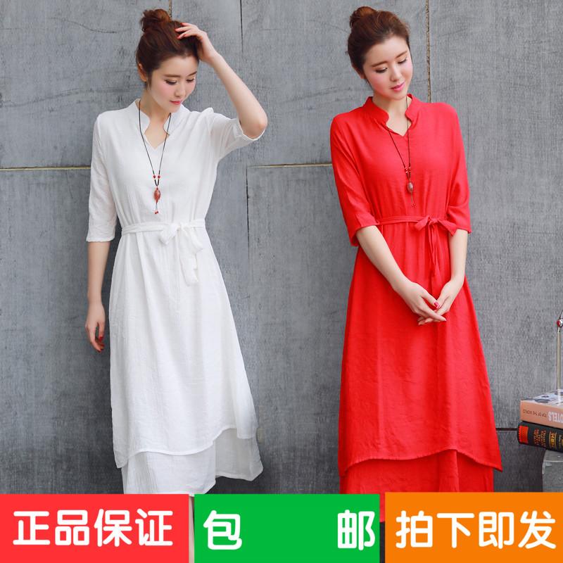 2017春夏棉麻新款中国风古典改良汉服纯白仙女范连衣裙