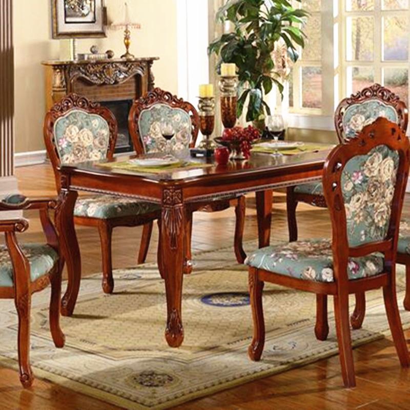ヨーロッパの食卓チェアグループ全木造の食事のテーブルと椅子よんしよ人ろく人アメリカン食事台チェアグループ現物彫りの長方形の型