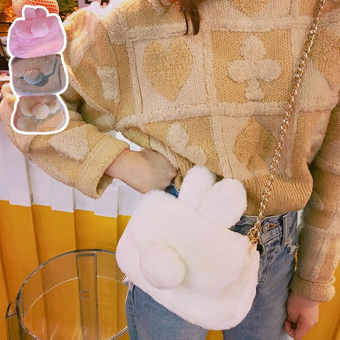 日系可爱萌物毛绒兔子尾巴斜挎包软妹链条单肩斜挎包零钱包手机包