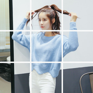 韓版毛衣女套頭線衣短款純色學生針織蝙蝠袖2018秋冬女裝