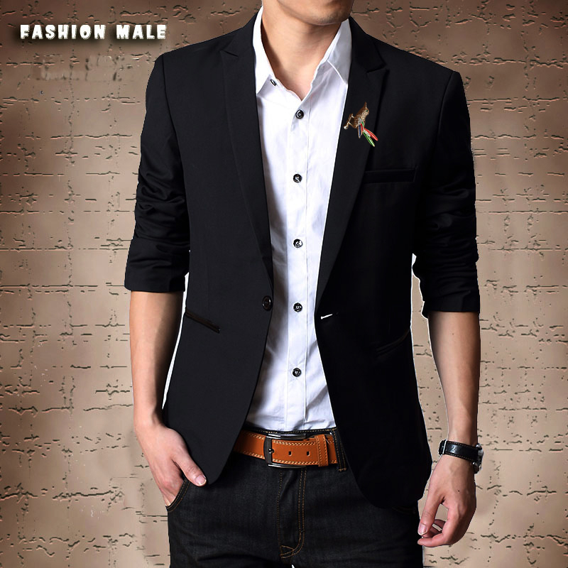 西装男冬季修身韩版小西服青少年外套装三件套黑色学生职业加绒
