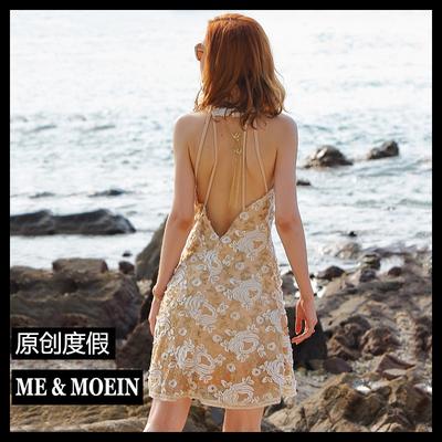 性感小礼服裙挂脖露背连衣裙绣花裙海边度假沙滩裙海滩裙短裙夏季