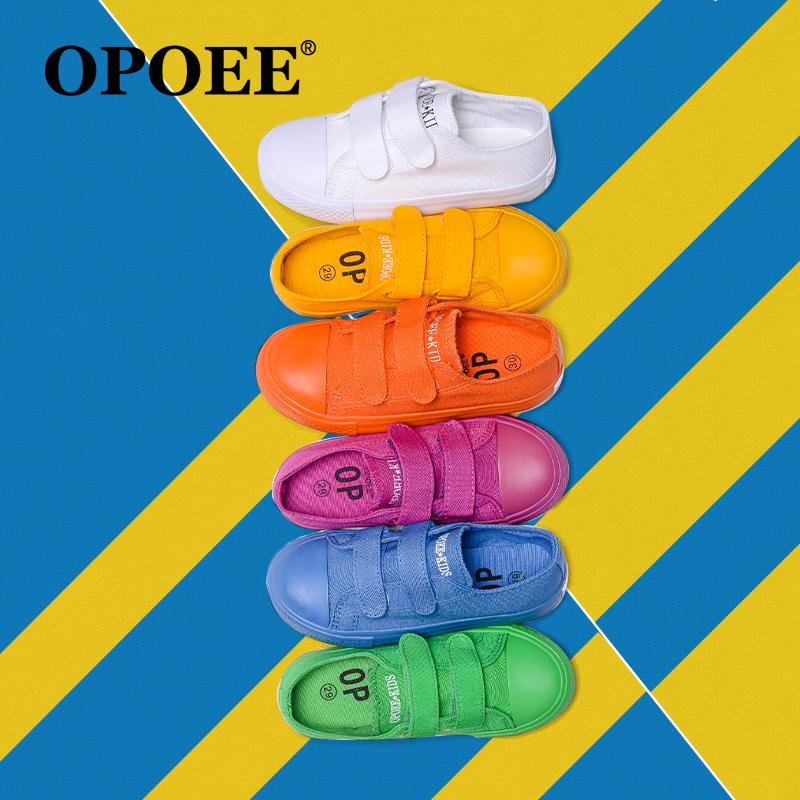 儿童帆布鞋2017秋新款男童女童鞋韩版糖果色低帮魔术贴板鞋小白鞋