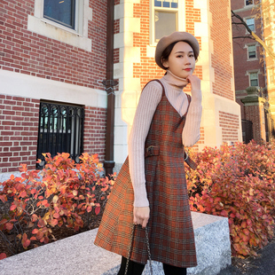 2018新款女装春装学院风格子吊带连衣裙收腰a字裙