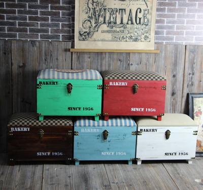 复古多功能收纳凳子实木储物凳可坐成人沙发凳玩具储物换鞋凳家用