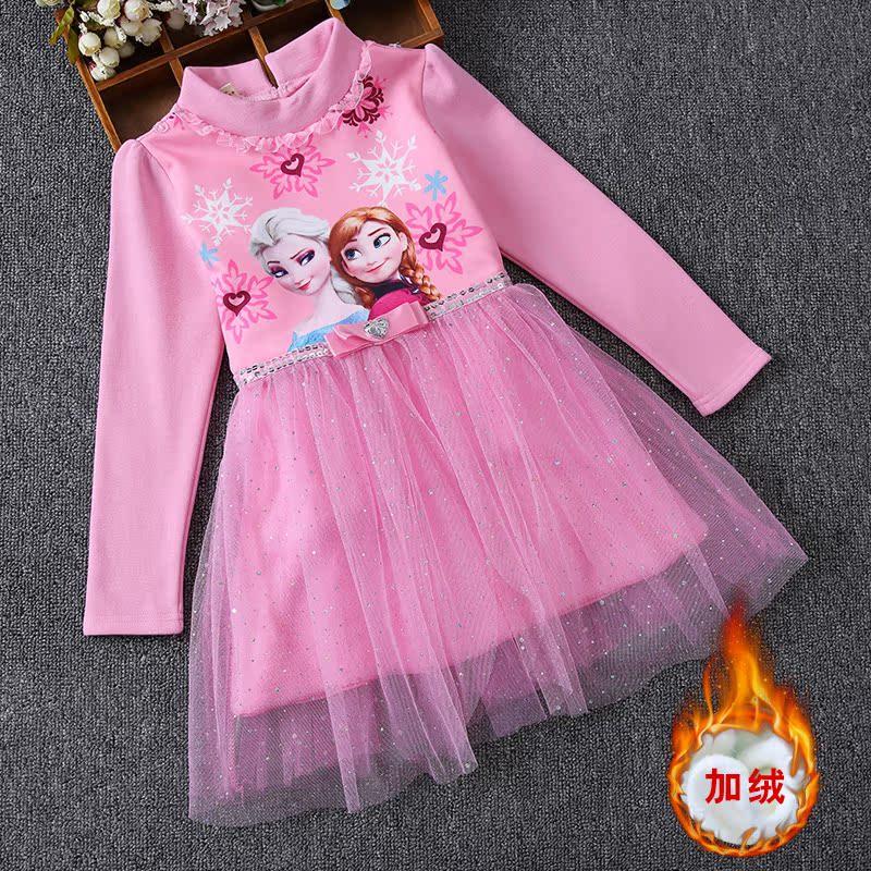 冰雪奇缘爱莎公主裙艾莎爱莎童装女童秋装长袖纯棉儿童连衣裙子
