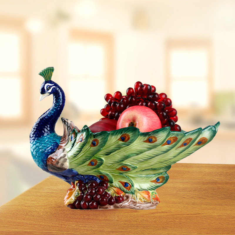 歐式陶瓷高檔水果碗吉祥幸福孔雀水果盤果碗 家居禮物新居擺設
