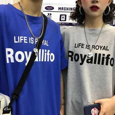 官方图 韩国复古简约字母印花情侣打底上衣短袖T恤 男女款