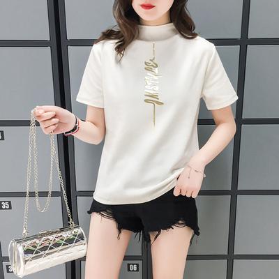 实拍短袖T恤女士修身半高领上衣服百搭打底衫