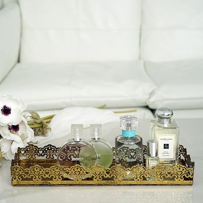 玄关摆设收纳 复古金色蛋糕盘香水摆盘  蕾丝边食物盘摄影道具