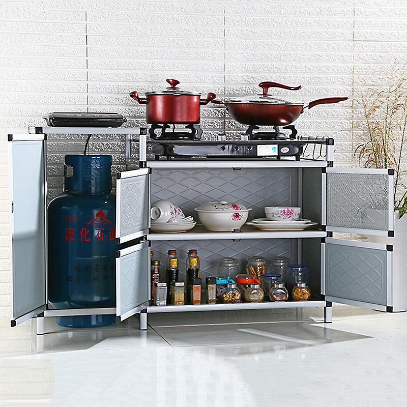 食器戸棚のアルミニウム合金の茶本棚ステンレスかまど櫃キャビネットガスコンロ簡易キッチンタンスロッカー帯門
