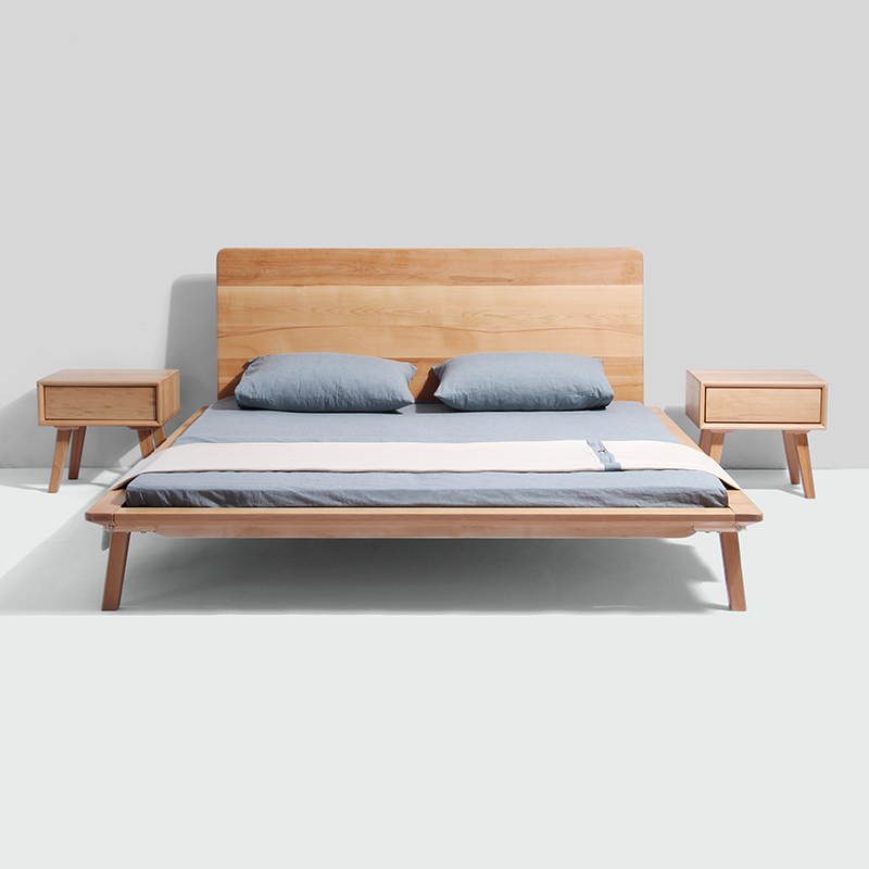 Simple solid wood beds, solid wood furniture, double 1.5 meters oak, high box bedroom, small family custom Nordic solid wood bed