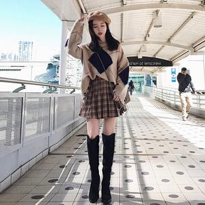 2017秋冬季新款时尚潮港味学生小个子女神范毛衣配裙子两件套装女