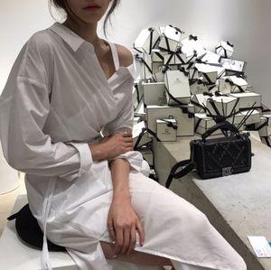 早春推荐!韩国 chic #2110  露肩系带长款斜肩衬衫女连衣裙