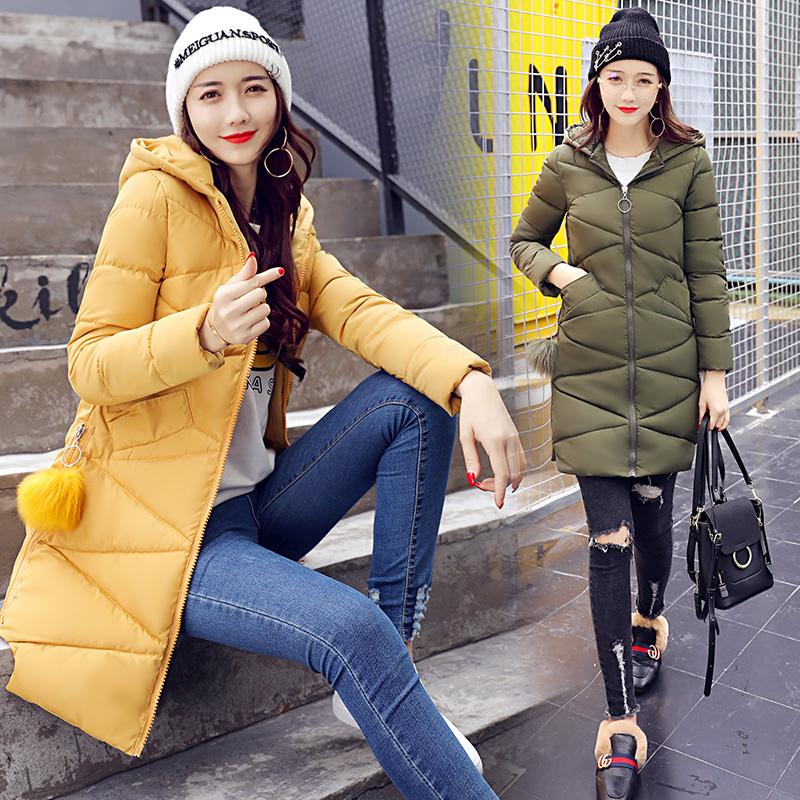 实拍2017冬季新款韩版宽松加厚连帽羽绒服女装中长款棉服外套8685