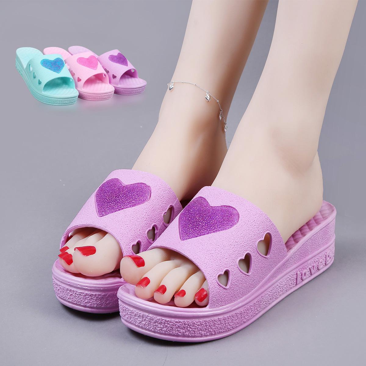 夏季拖鞋可爱居家室内厚底防滑凉拖鞋女坡跟高跟休闲一字拖沙滩鞋