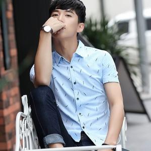 男士短袖衬衫韩版修身休闲衬衫男短袖学生时尚青年白色衬衣潮099