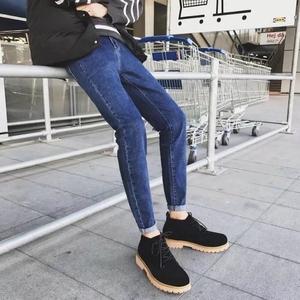 A网络图2018春夏季款纯色牛仔裤潮弹力细修身男裤牛仔裤黑色