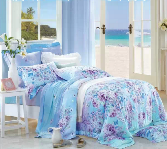 Mona textile environmental protection activity on both sides of a series of Tencel Tencel four piece Nobel micro flowers