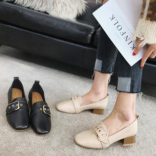 春季复古方头粗跟单鞋女中跟英伦风小皮鞋韩版百搭真皮乐福鞋黑色