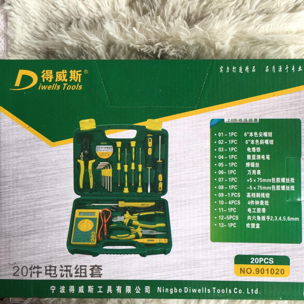 La confezione ERA Weiss 20 Pezzi di telecomunicazioni Set di strumenti elettricista di riparazione di cui Electric Iron Test matita cacciavite combinazione