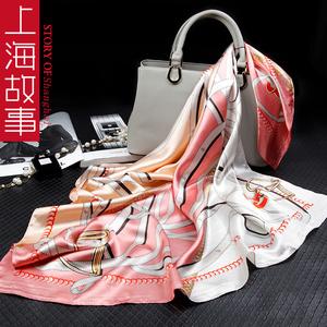上海故事大方巾正方形丝巾女围巾冬季中年妈妈款婆婆百搭礼盒高档