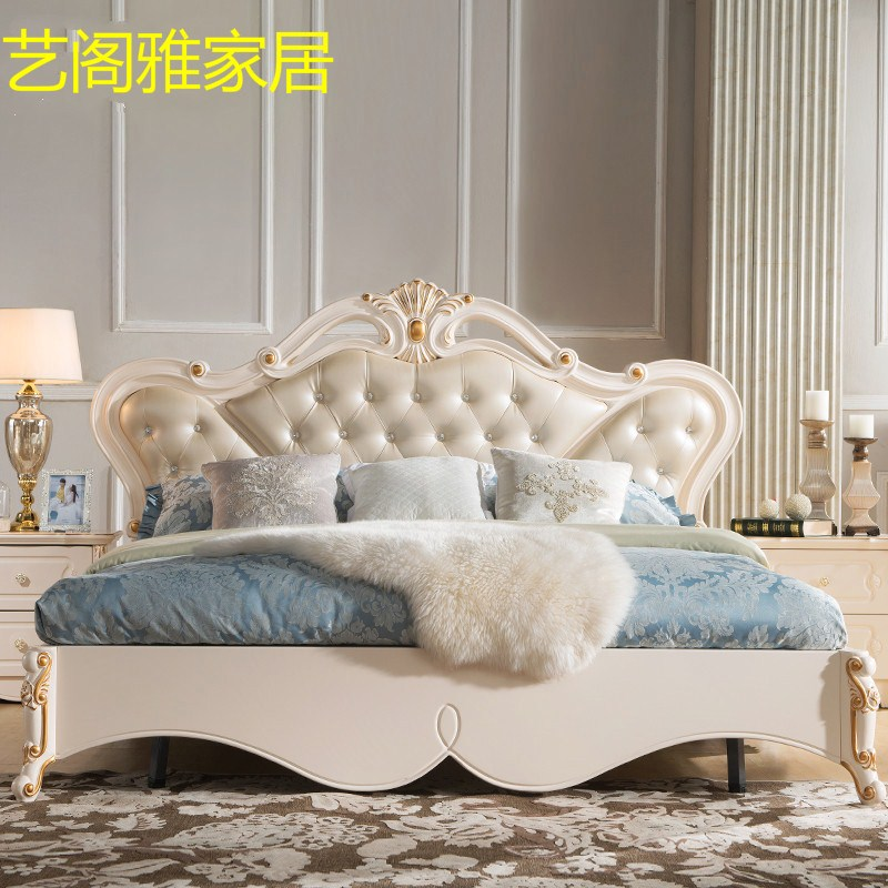 European style bed double bed 1.8 meters 1.5 meters --- single bed white princess bed high storage box bed Garden