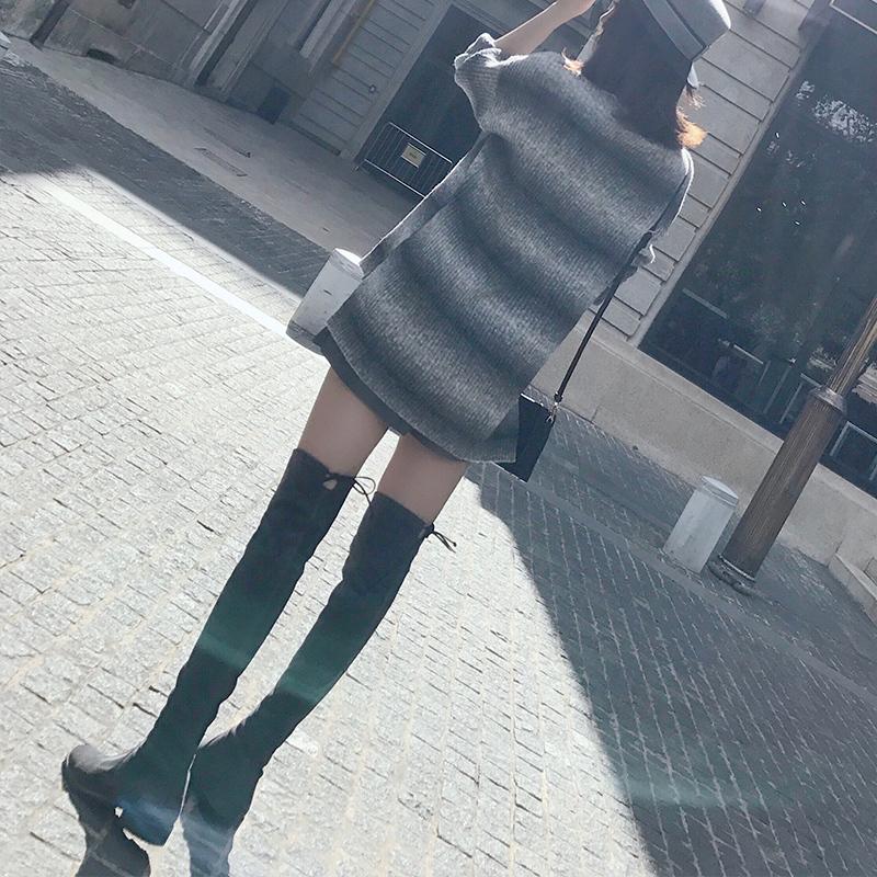 5050过膝靴长靴弹力靴棉鞋女秋冬季2017新款高筒靴长筒靴百搭靴子