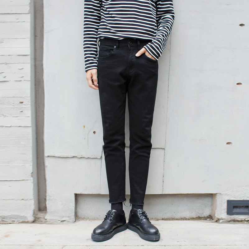 毛邊黑色牛仔褲男九分褲不規則休閑褲男修身小腳鉛筆褲男小腳褲潮
